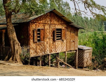 A traditional bamboo house at countryside in Mandalay, Myanmar.