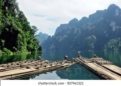 Traditional bamboo rafts on the lake at Ratchaprapa dam, Khao Sok national park, Suratthani, Thailand