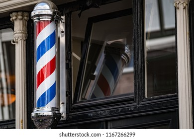 Traditional Barber's pole in Amsterdam, Netherlands