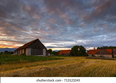 Traditional barns on the edge of a village in northern Slovakia.