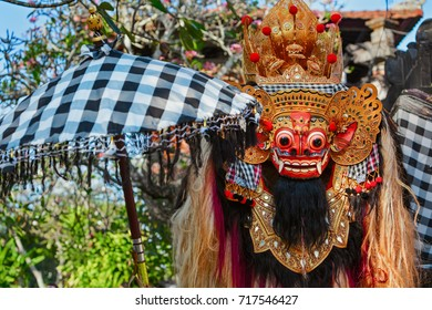 Traditional Barong. Bali island protective hindu spirit at ceremony Melasti and ritual temple dance before Balinese New Year, silence day Nyepi. Holidays, festivals, art, culture of Indonesian people.