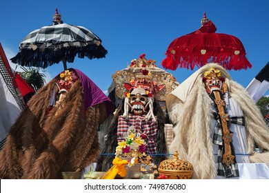 Traditional Barong and Rangda masks. Bali island spirit at ceremony Melasti and ritual temple dance before Balinese New Year, silence day Nyepi. Holidays, festivals, art, culture of Indonesian people.