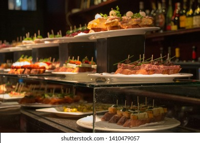 Traditional Bask Pintxos in a Tapas Bar in Barcelona, Spain.