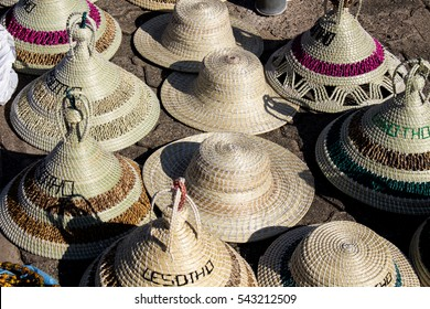 "The traditional Basotho grass-works made hat, called ""mokorotlo"". It  is a symbol of Lesotho's unification. African souvenirs. Southern Africa."