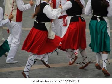 Traditional Basque dance in a folk festival