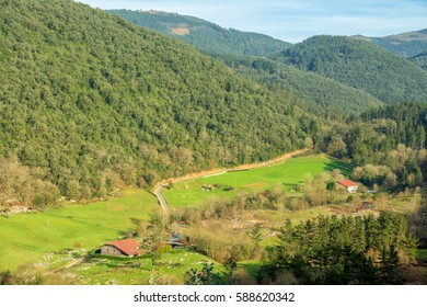 traditional basque village at biscay countryside, Spain