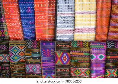 Traditional Batak Cloth sold on local markets and worn by the Batak people.  Batak is a collective term for the ethnic groups living around Lake Toba in North Sumatra of Indonesia