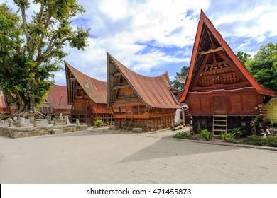 Traditional Batak house at Ambarita, Lake Toba