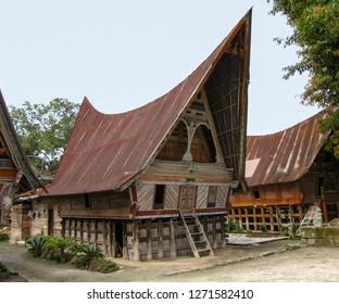 Traditional Batak house at Ambarita, Samosir island, Sumatra, Indonesia