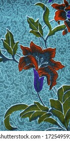 Traditional Batik Sarong flower Pattern Background in digital painting