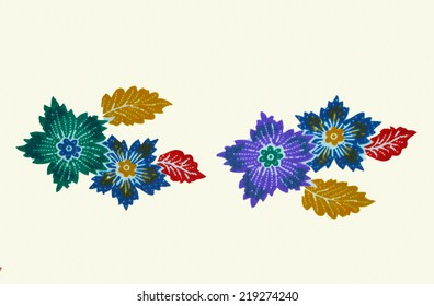 Traditional Batik Sarong flower Pattern with white Background