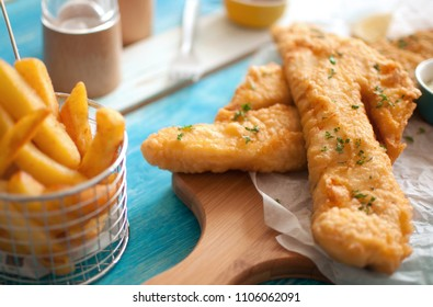 Traditional battered fried fish with chips