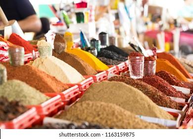 Traditional bazaar with spices in Tashkent, Uzbekistan.