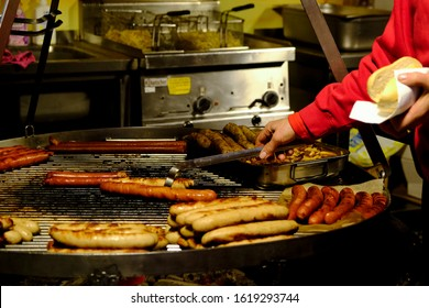 Traditional BBQ barbeque wurst sausages on Christmas market in Trier, Germany on Jan. 11, 2020