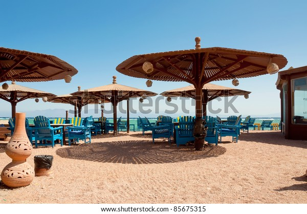 Traditional beach restaurant at the egyptian seascape