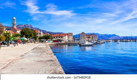 Traditional beautiful coastal town Kastela in Croatia. Kastel Stafilic village