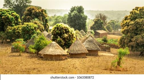 Traditional Bedik tribe bungalows in Senegal