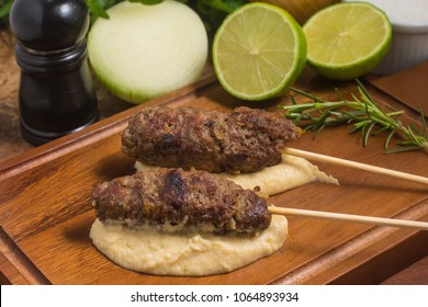 Traditional Beef Kafta over a wooden board