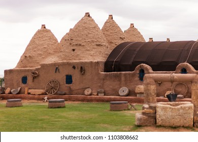 Traditional beehive mud brick desert houses are located in Harran, Sanliurfa, Turkey. These buildings topped with domed roofs and constructed from mud and salvaged brick.