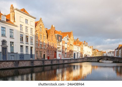 Traditional Belgian facades of houses on the canal Spiegel Rei in the city of Bruges.