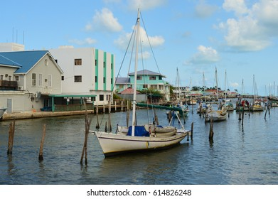 Traditional Belizean fishing boats in the harbor of Belize City. Picture taken from the swing bridge on Queen Street.