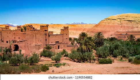 A traditional Berber city on the hillside. Africa Morocco Ait Ben Haddou