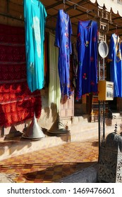 Traditional Berber dresses outside a  store in  Rissani, Morocco, Africa