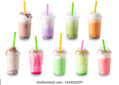Traditional beverage of asia taiwan,  Ice buble or boba milk tea in plastic cup with straw on white background, summers refreshment.