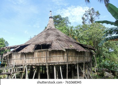 Traditional Bidayuh tribe house  also called 'barok'. Bidayuh is one of many indigenous natives of Borneo. The Barok was designed to be built tacked to a steep hillside like a gigantic staircase.