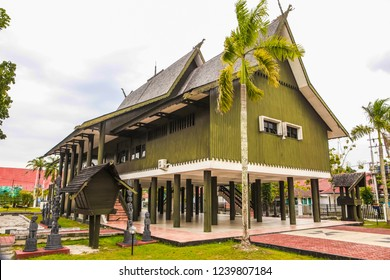 Traditional big house of dayak tribe called rumah adat dayak betang from central borneo