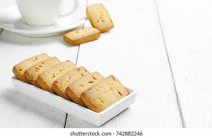 Traditional biscuit isolated on white tray with tea