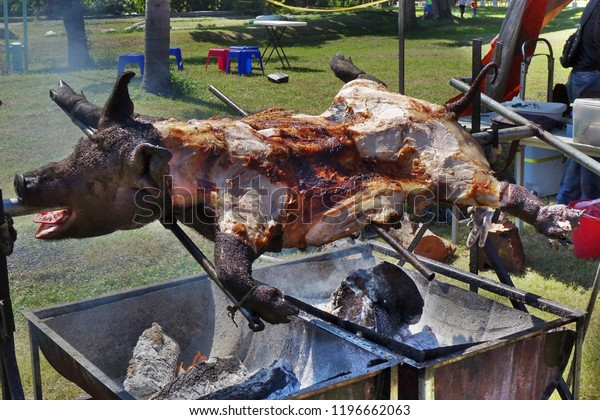 Traditional black haired pig barbecue in Taiwan