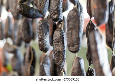Traditional black spanish blood sausage morcilla