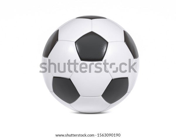 Traditional black and white soccer ball or football on a white background with small drop shadow and copy space
