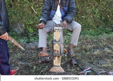 Traditional blade sharping machine in countryside