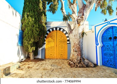 Traditional blue doors with ornaments  in Sidi Bou Said, Tunisia.