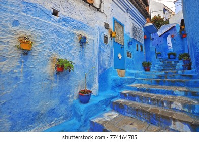 Traditional blue patio in Chefchaouen, Morocco
