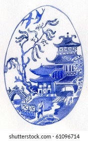 Traditional Blue and White Willow Pattern Design in an Oval Shape.