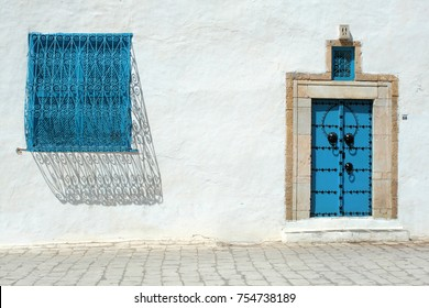 Traditional Blue Windows on Houses in Sidi Bou Said, Tunisia