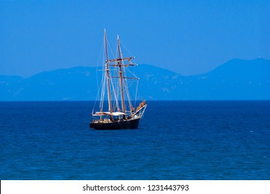 Traditional boat in Corfu island, Greece
