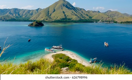 Traditional Boat in Empty Beach Around Komodo Island