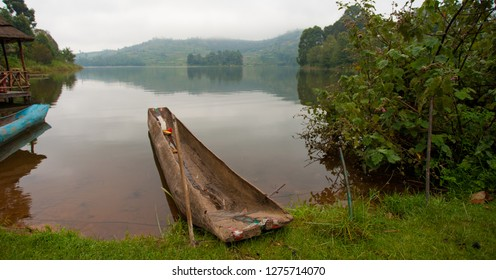 Traditional boat at Lake Bunyonyi in Uganda, Africa, at the borders of Uganda, Congo Democratic Republic and Rwanda, not far from the Bwindi National Park, home of the last mountain gorillas