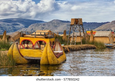 Traditional boat of local people on floating Uros island, Lake T
