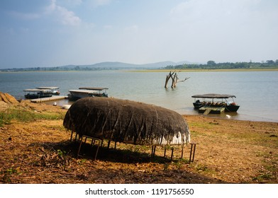 Traditional boat on Kabini river in India