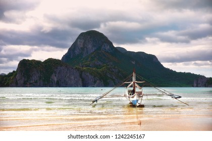 Traditional Boat on the Shore Near El Nido, Palawan, Philippines