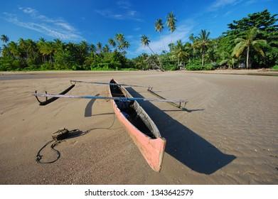 Traditional boat at Saleman Village, Seram Island, Indonesia