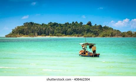 Traditional Boat at tropical beach, Phuket, Thailand