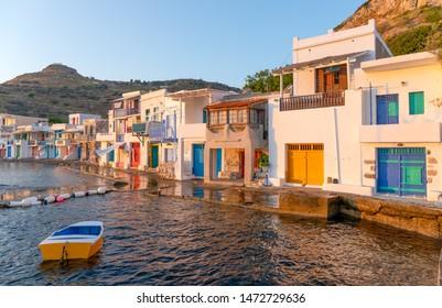 Traditional boathouses in Klima fishing village, Milos island, Greece.