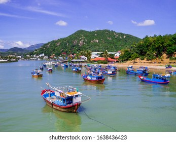 Traditional boats on the Cai River in Nha Trang, Vietnam