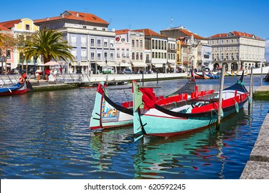 Traditional boats on the canal in Aveiro, Portugal